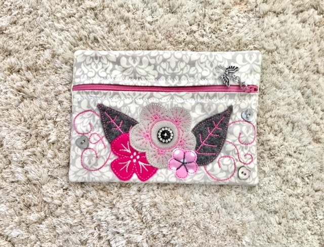 Ith zipper bag flower collage applique pixie willow patterns