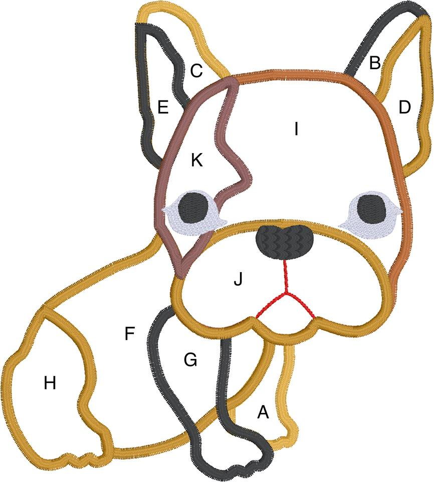 French Bulldog Applique Machine Embroidery design 4x4 and