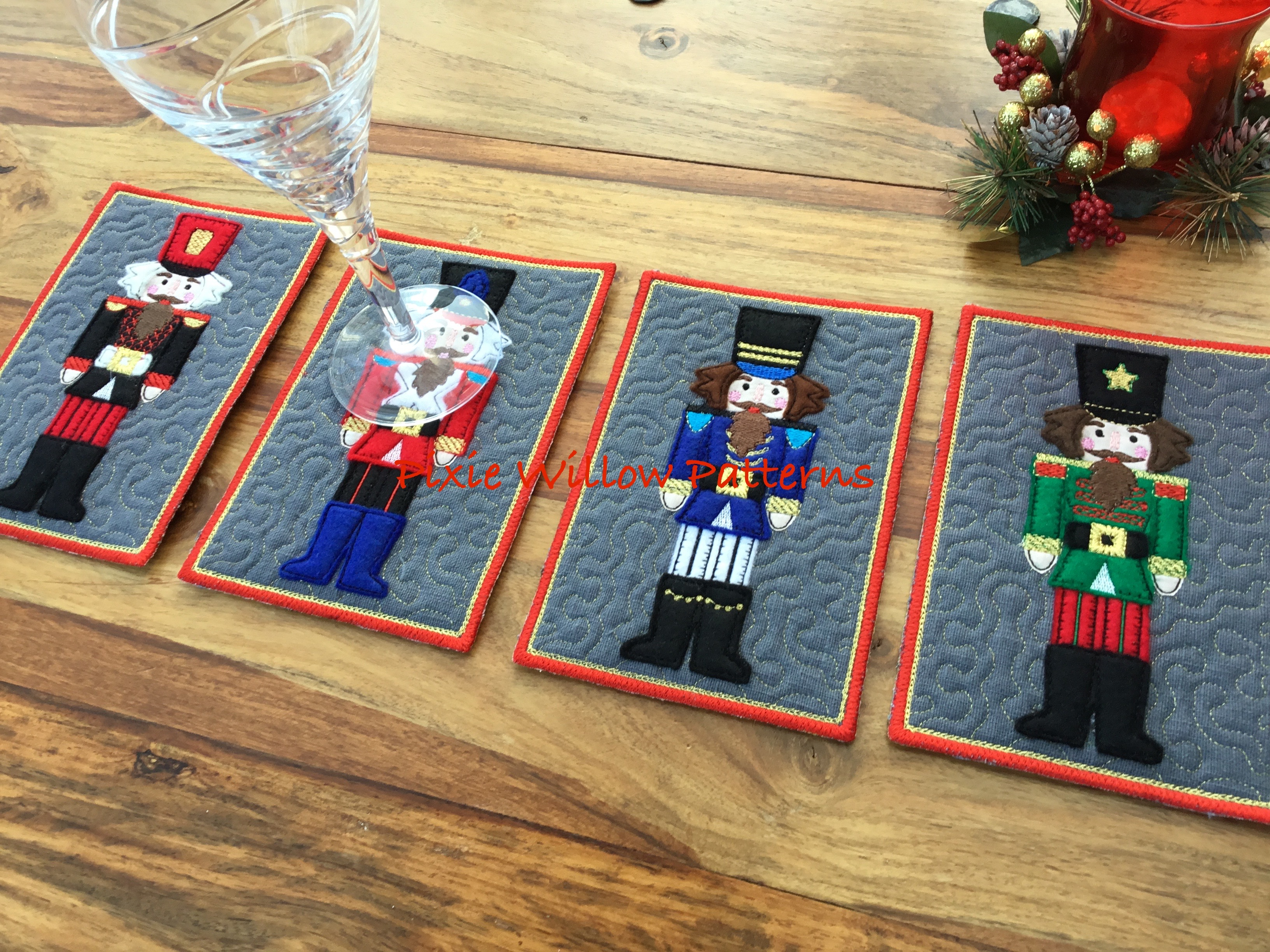 In The Hoop Set Of 4 Nutcracker Soldier Mug Rugs 5x7 Christmas Machine Embroidery Pattern Pixie Willow Patterns