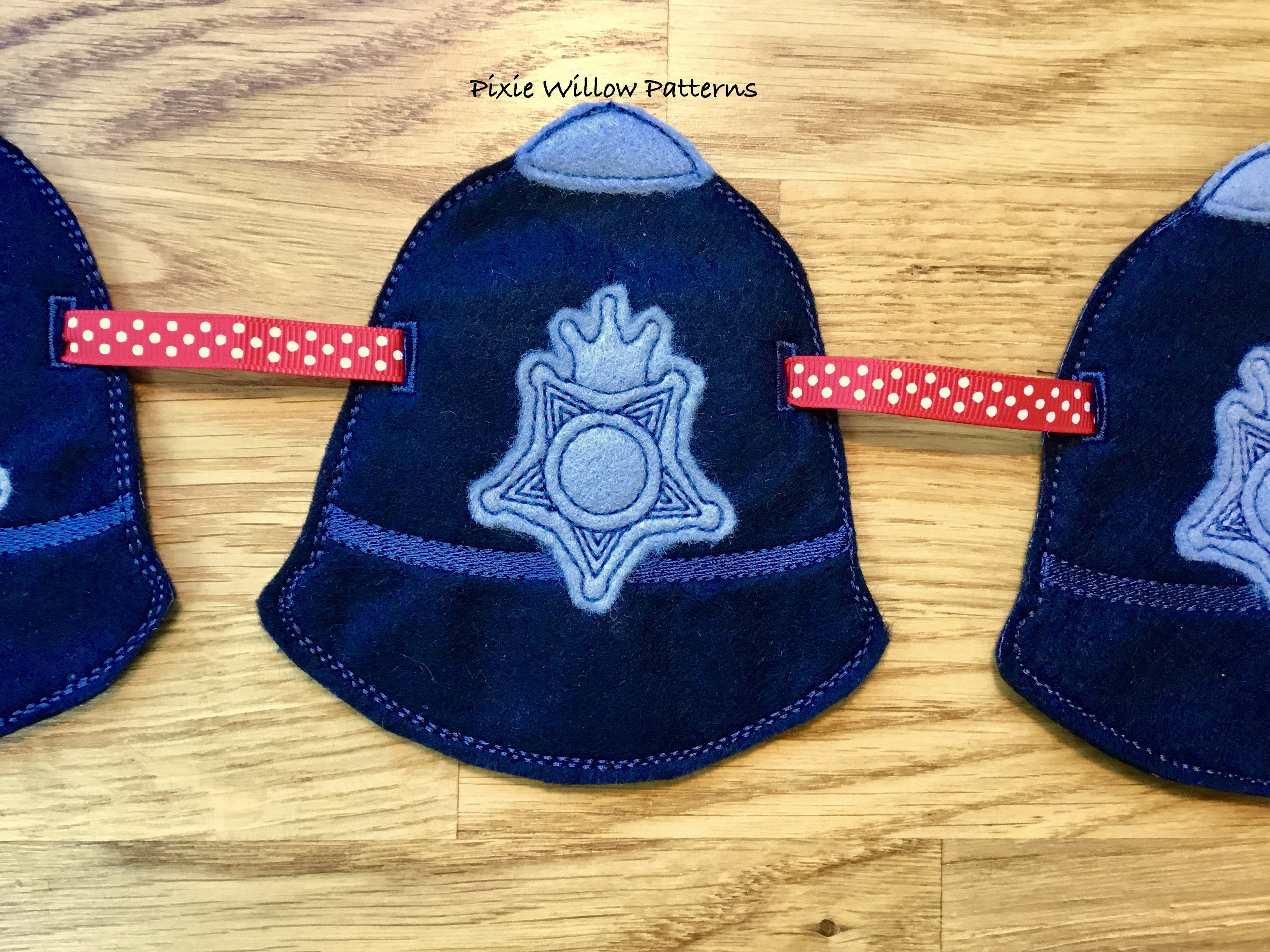 In The Hoop Policeman Hat Bunting  ITH Machine Embroidery Applique  Policeman Hat Bunting  4x4, 5x7, 8x12 and 9x12 Hoops  British Icon Series
